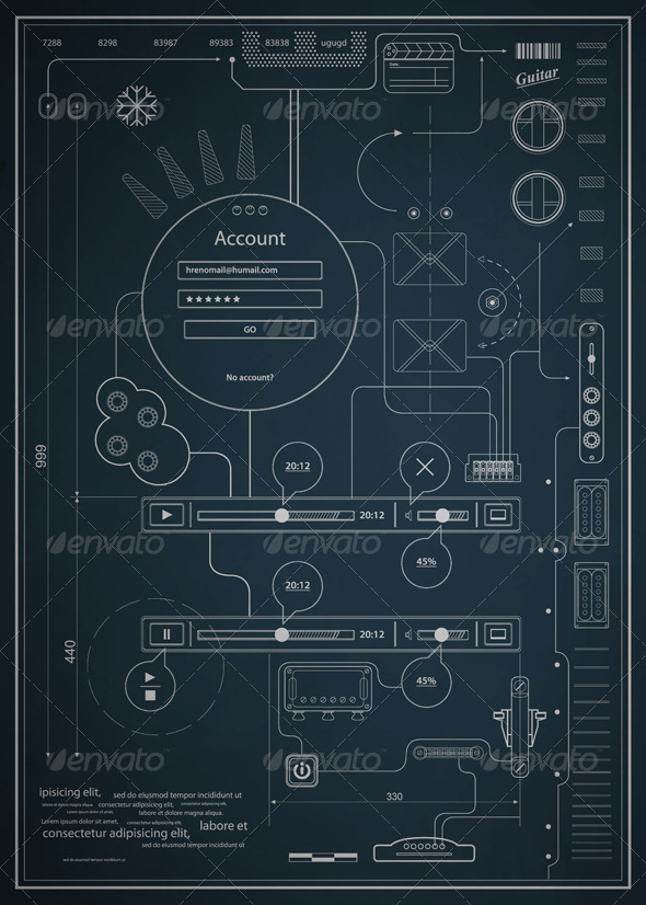 GraphicRiver Blueprint infographics drawing a schematic abstrac 621518