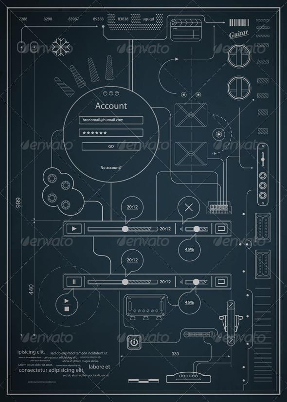 Blueprint Vector Drawings Blueprint Infographics Drawing