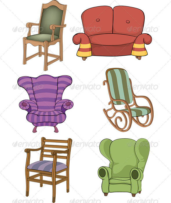 GraphicRiver Set of Chairs and Armchairs 5954158