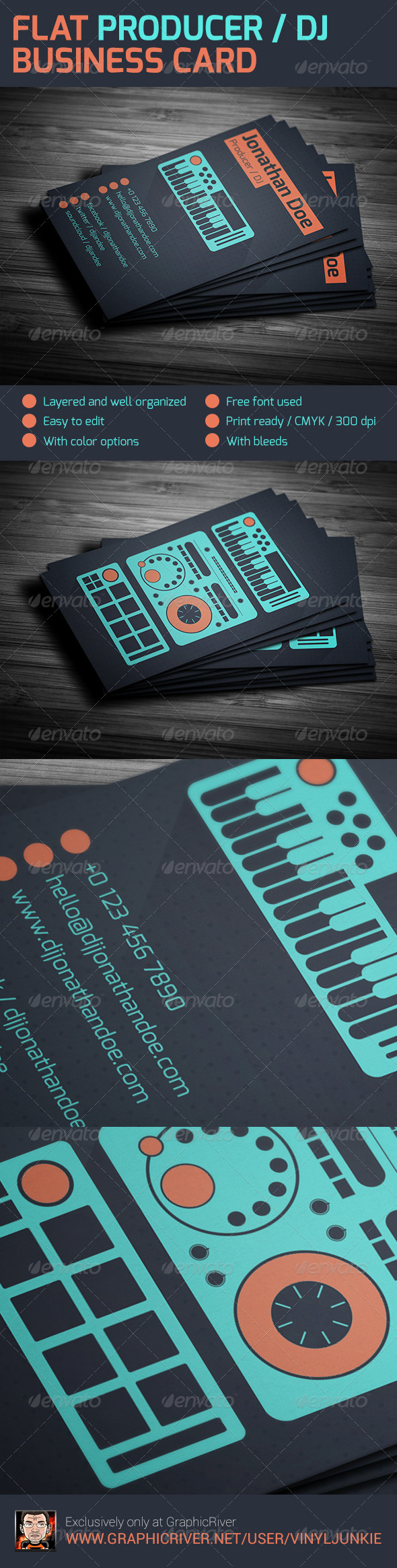 GraphicRiver Flat Producer DJ Business Card 5954168