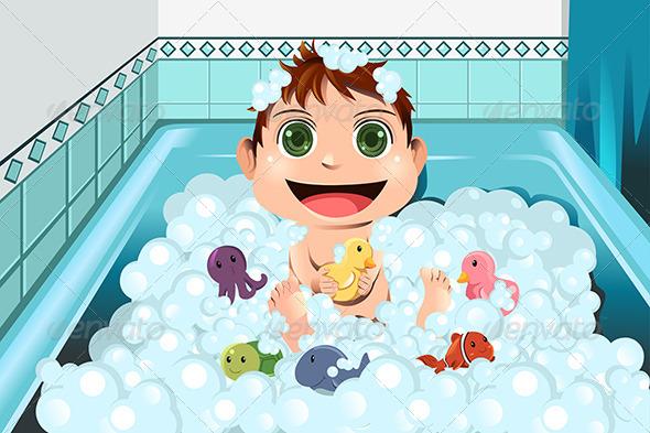 GraphicRiver Baby taking Bubble Bath 5954345