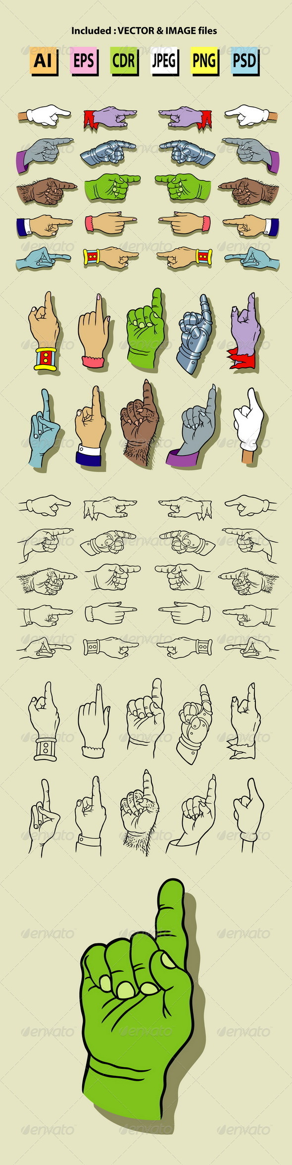 GraphicRiver Hands Pointing Illustration 5954573