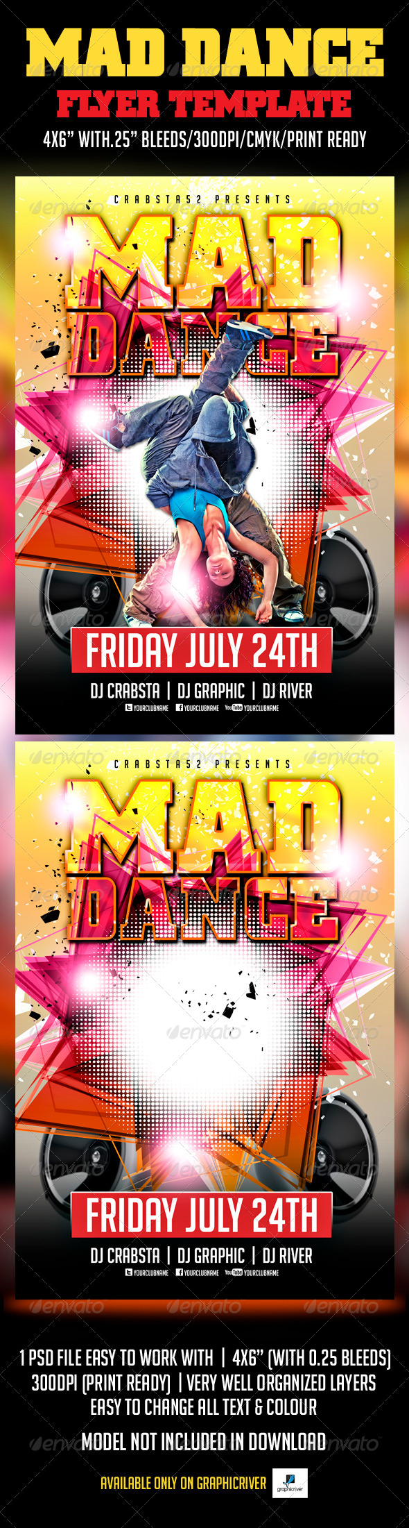 GraphicRiver Mad Dance Flyer Template 5955158