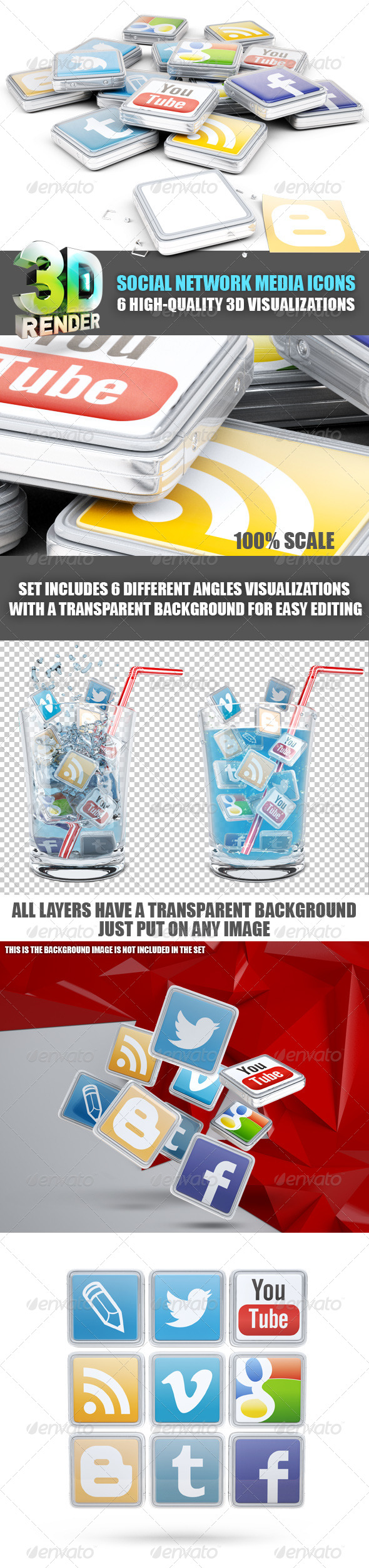 GraphicRiver Social Network Media 3D Icons 5955164