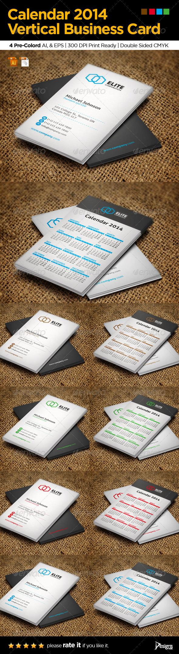 GraphicRiver Calendar 2014 Vertical Business Card 5924271