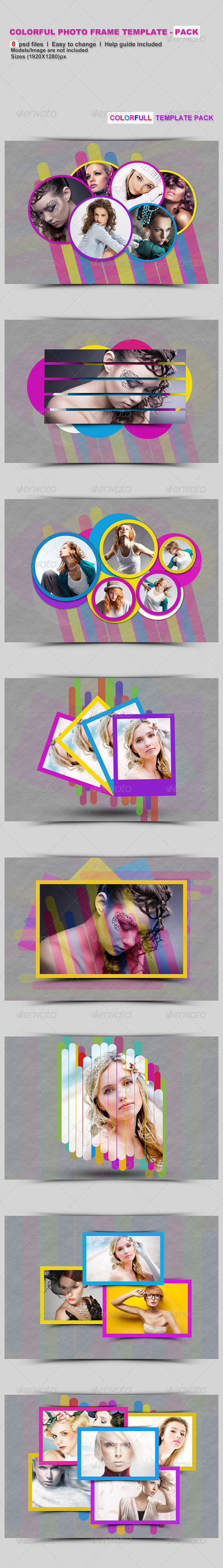 Colorful Photo Frame Template - Pack - Photo Templates Graphics