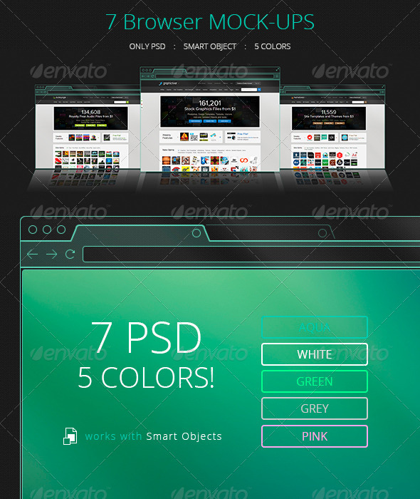 GraphicRiver 7 Flat Transparent Holographic Browser Mock-Ups 5914167