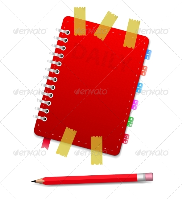 GraphicRiver Personal Organizer with Scotch and Red Pencil 5955432
