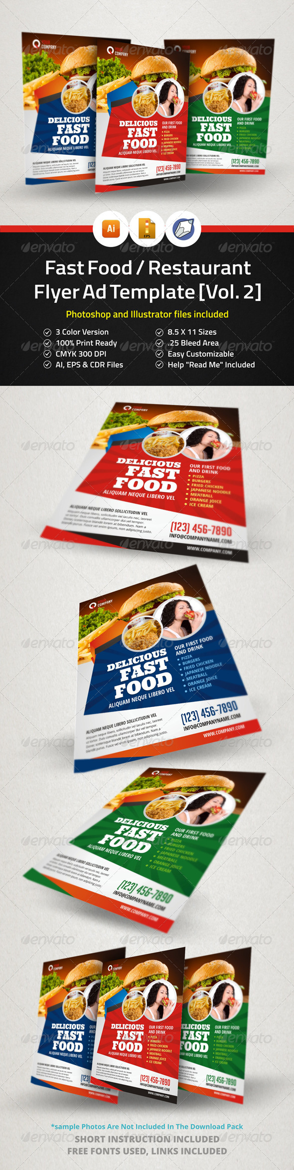 GraphicRiver Fast Food Restaurant Flyer Ad Template Vol.2 5955495