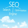 Search engine optimization cloud icon with design on blue sky background