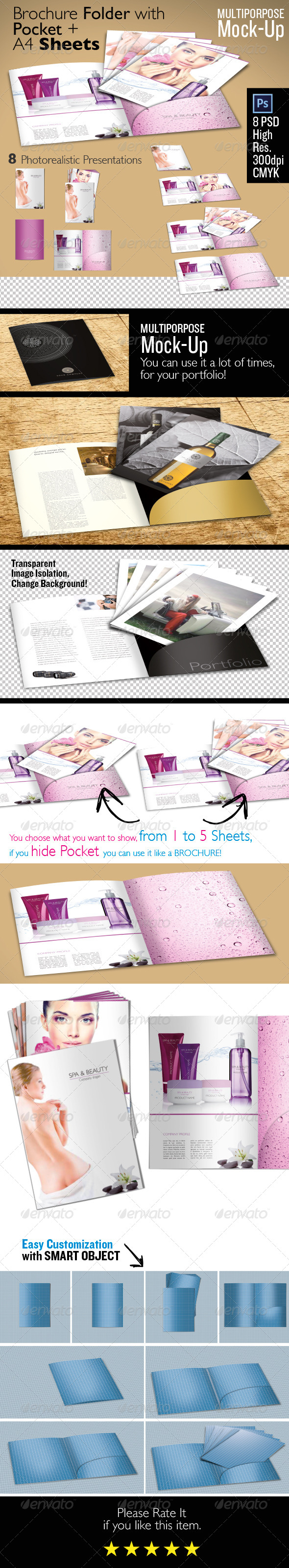 GraphicRiver Brochure Folder with Pocket & Sheets Mock Up 5956091