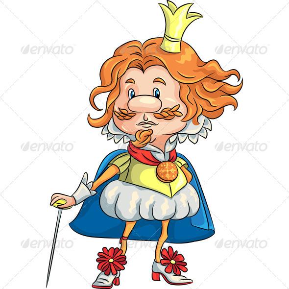 Sad Cartoon King with a Golden Crown