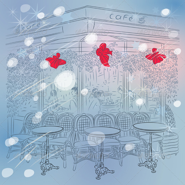 GraphicRiver Christmas Winter Sketch of Parisian Cafe 5956643