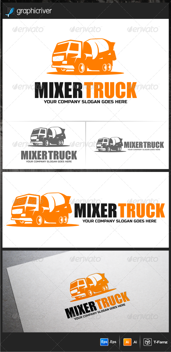 GraphicRiver Mixer Truck Logo Templates 5957323