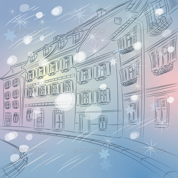 Christmas Cityscape of Old European City - Buildings Objects