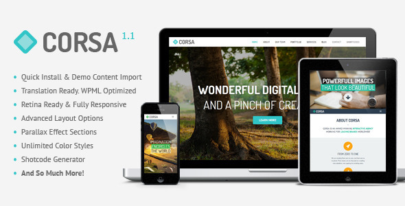 Corsa is modern professional and flexible one page parallax WordPress theme, developed with great attention to details. Theme can be used for any type of websit