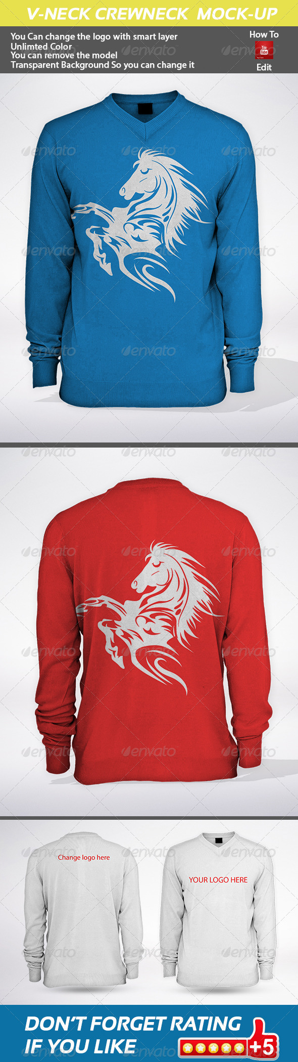 GraphicRiver V-neck Crewneck Mock-Up 5934957