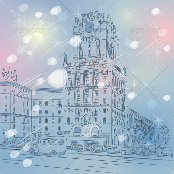 Vector Christmas Winter Cityscape of a City Center - Buildings Objects