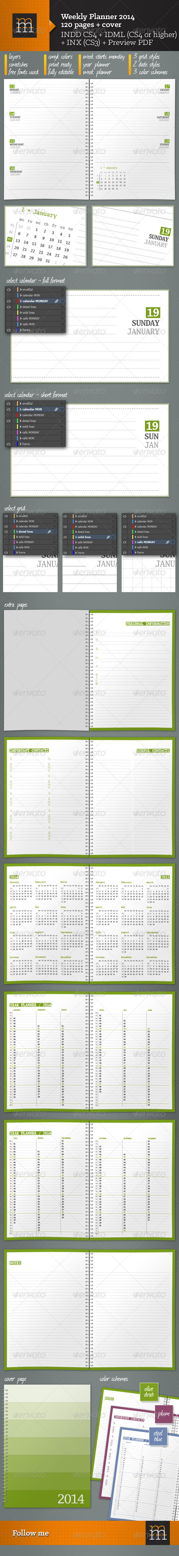 GraphicRiver Weekly Planner 2014 5933854