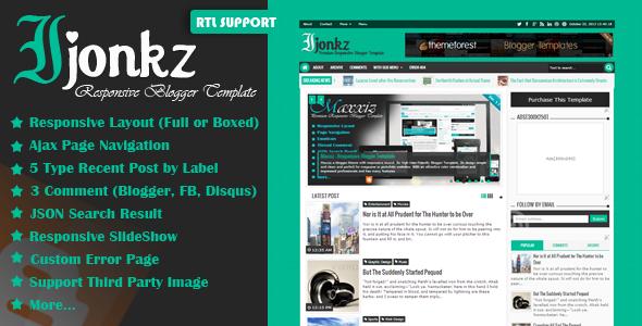 Ijonkz Responsive Magazine/News Blogger Template Poster