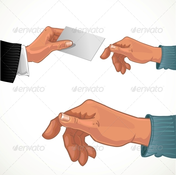 Male Hand Passing Business Card
