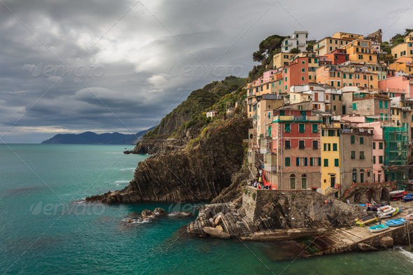 Village of Manarola, on the Cinque Terre coast of Italy - Stock Photo - Images