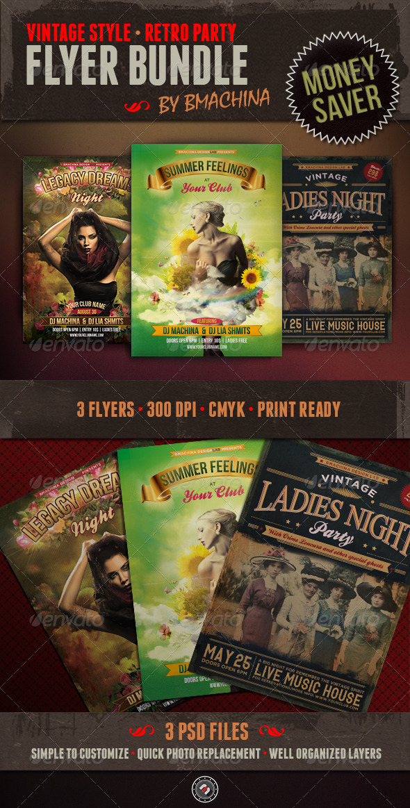 Vintage Flyer Bundle - Events Flyers