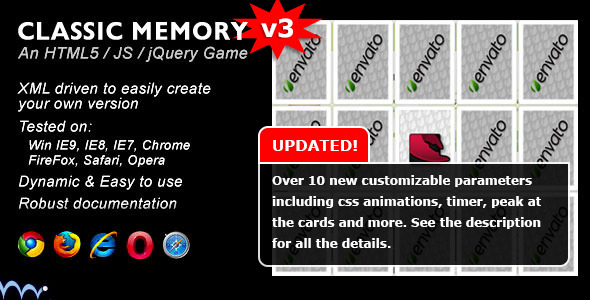 Classic Memory Game - CodeCanyon Item for Sale