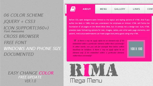 CodeCanyon Rima jQuery Mega Menu 5959899