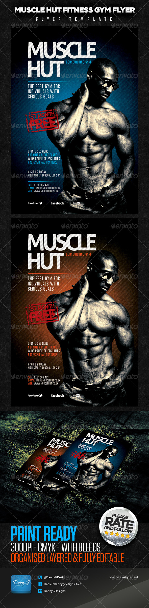GraphicRiver Muscle Hut Bodybuilding Fitness Flyer Template 5959934
