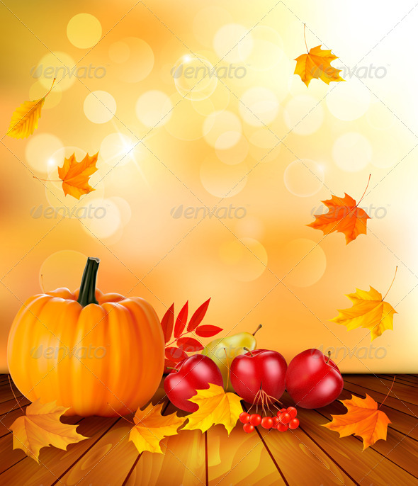 Autumn Background with Fresh Fruit and Leaves