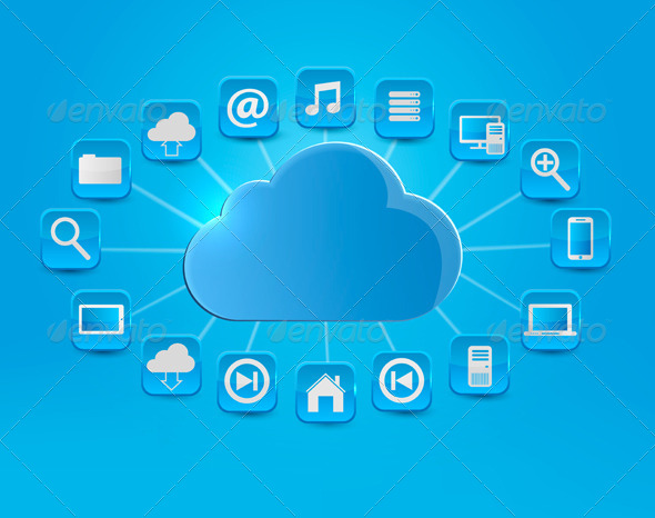 GraphicRiver Cloud Computing Concept Background with Icons 5959989