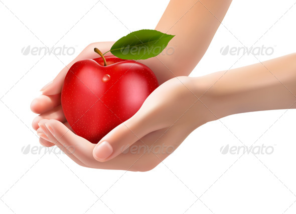 GraphicRiver Red Ripe Apple in a Hands Concept of Diet 5960022