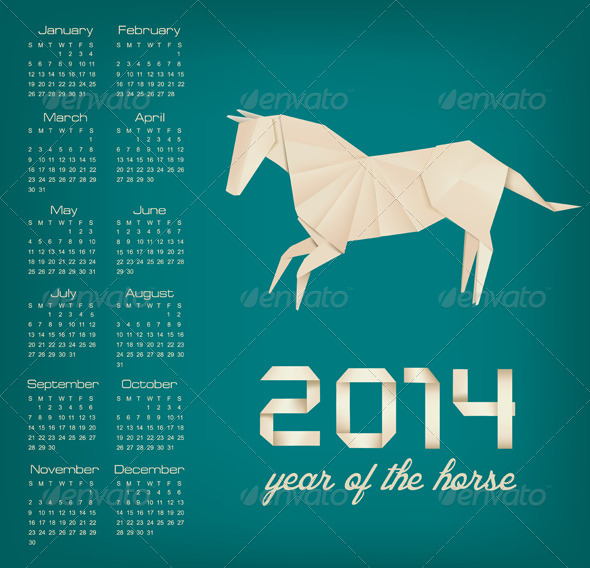 GraphicRiver Retro Calendar for the New Year Origami Horse 5960033
