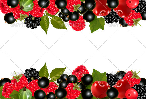 Background with Fresh Berries and Cherries