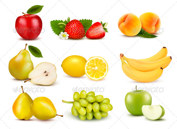 GraphicRiver Big Group of Different Fruit Vector 5960079