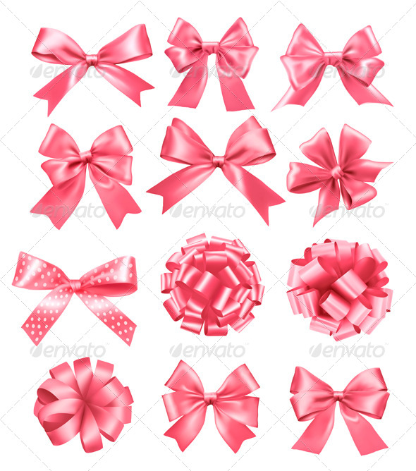GraphicRiver Big Set of Pink Gift Bows and Ribbons 5960083