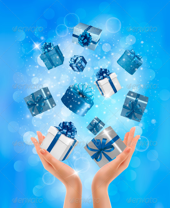GraphicRiver Holiday Background with Hands holding Gift Boxes 5960087