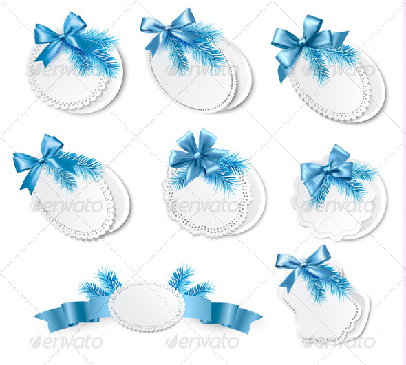GraphicRiver Set of Christmas Retro Labels with Blue Gift Bows 5960094