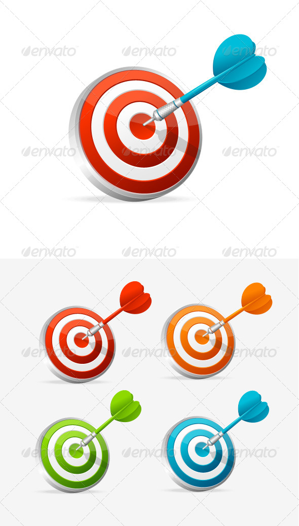 GraphicRiver Dartboard with Dart Colorful Set 5960624