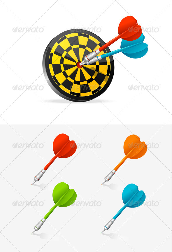 GraphicRiver Classic Darts Board with Colorful Darts 5960662