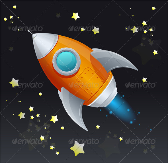 GraphicRiver Comic Cartoon Rocket Space Ship 5961414