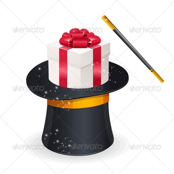 GraphicRiver Magic Hat and Gift Box Present Concept 5961417