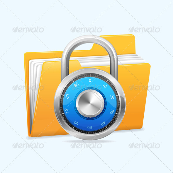 GraphicRiver Yellow Computer Folder and Combination Lock 5961461