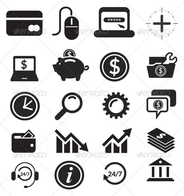 GraphicRiver Icon Set Banking & Finance Illustration 5961708