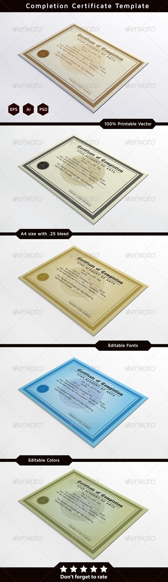 Completion Certificates - Certificates Stationery