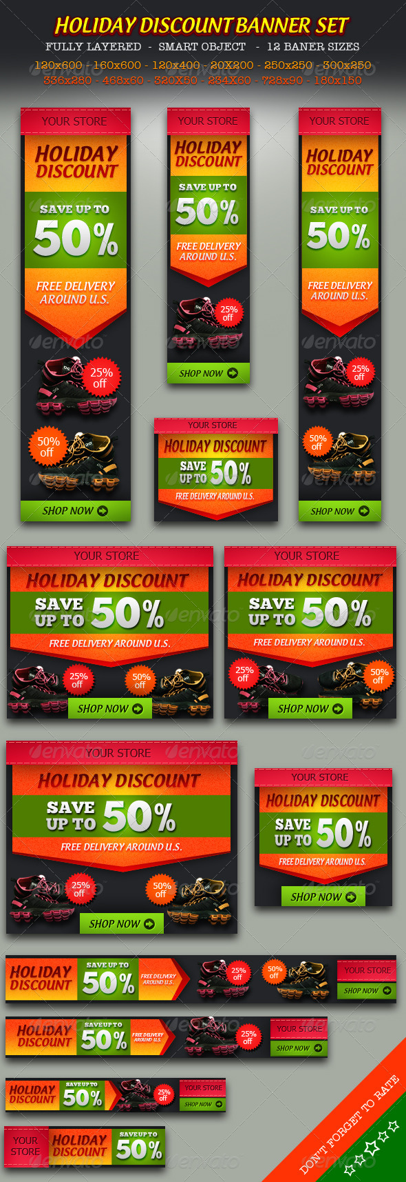 GraphicRiver Holiday Discount Online Store Banner ad Set 5961880