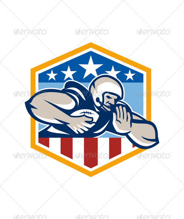 American Football Running Back Fend-Off Crest
