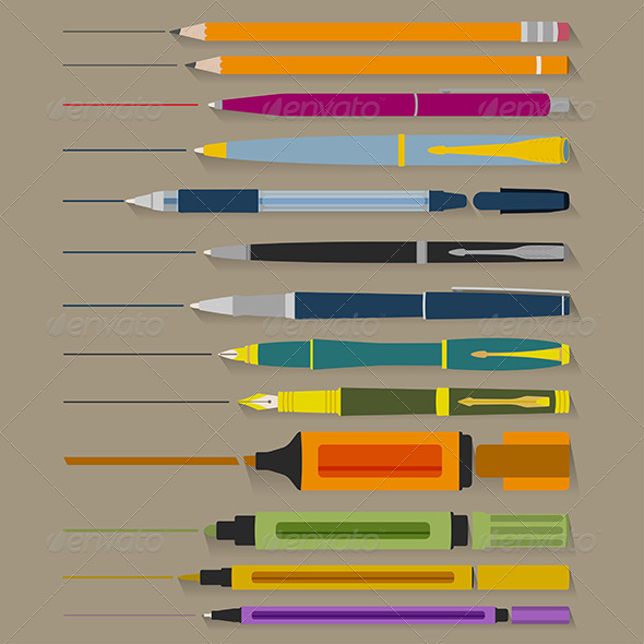 GraphicRiver Set of Pencils Pens and Markers 5961921