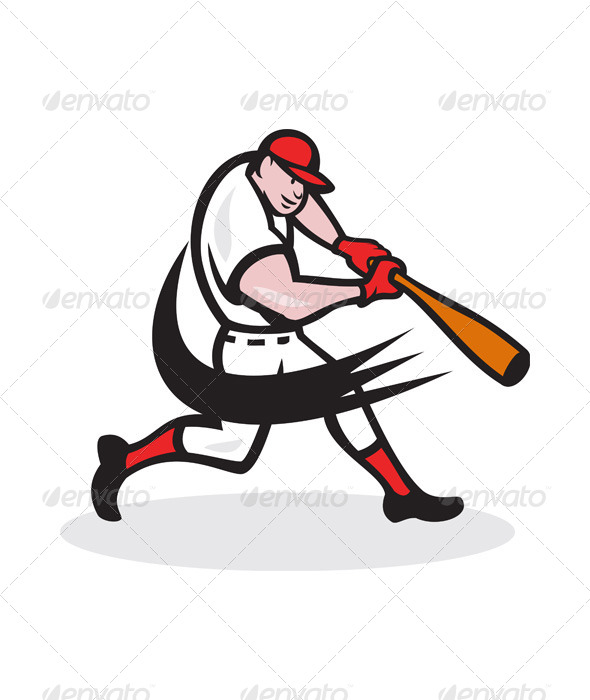 GraphicRiver Baseball Player Batting Isolated Cartoon 5961922